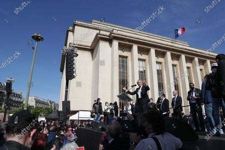 Bernard-Henri Levy awaits during the demonstration against the decision of the Court of Cassation in the Sarah Halimi case