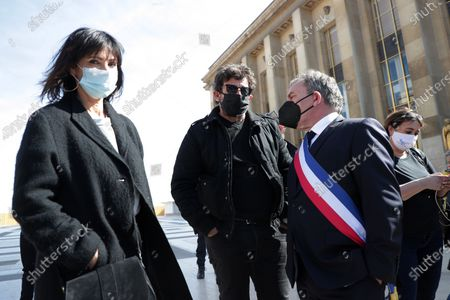 Stock Photo of Mathilda May, Patrick Bruel, Francis Szpiner waits during the demonstration against the decision of the Court of Cassation in the Sarah Halimi case
