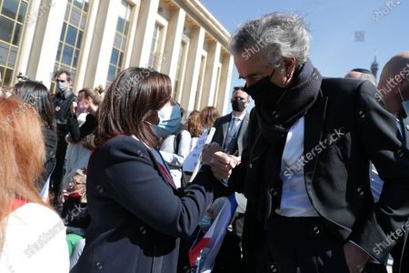 Stock Picture of Anne Hidalgo, Bernard-Henri Levy waits during the demonstration against the decision of the Court of Cassation in the Sarah Halimi case