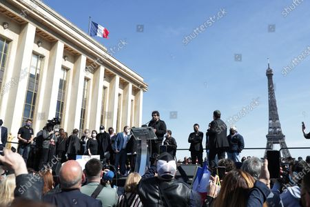 Stock Image of Patrick Bruel awaits during the demonstration against the decision of the Court of Cassin in the Sarah Halimi case