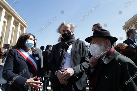 Stock Photo of Anne Hidalgo, Bernard-Henri Levy, Michel Gugenheim await during the demonstration against the decision of the Court of Cassation in the Sarah Halimi case