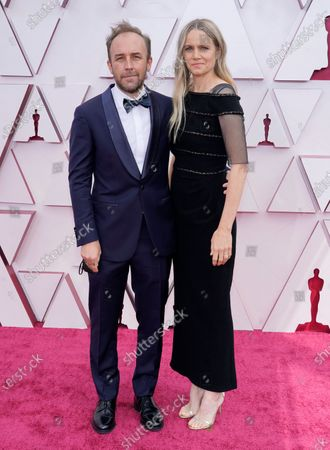 Derek Cianfrance, left, and Shannon Plumb arrive at the Oscars, at Union Station in Los Angeles