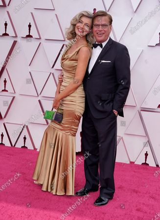 Stock Photo of Paulina Porizkova, left, and Aaron Sorkin arrive at the Oscars, at Union Station in Los Angeles