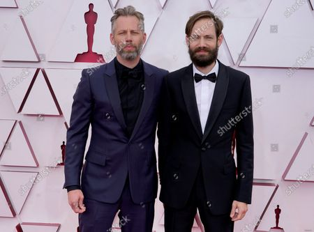 Darius Marder, left, and Abraham Marder arrive at the Oscars, at Union Station in Los Angeles