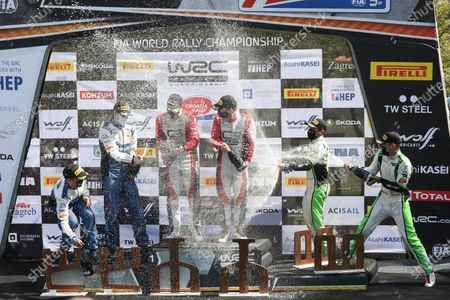 Closing ceremony and award ceremony of the WRC Croatia Rally. French driver Sebastien Ogier and his co-driver Julien Ingrassia are the winners.