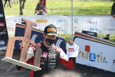 Stock Picture of Closing ceremony and award ceremony of the WRC Croatia Rally. French driver Sebastien Ogier and his co-driver Julien Ingrassia are the winners.