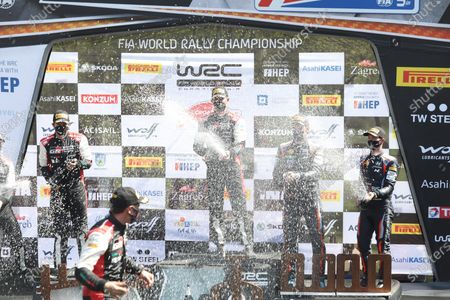Stock Image of Closing ceremony and award ceremony of the WRC Croatia Rally. French driver Sebastien Ogier and his co-driver Julien Ingrassia are the winners.
