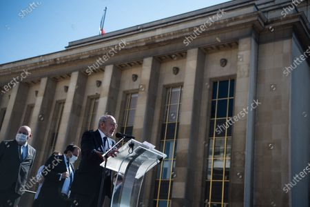 Francis Kalifat, president of the representative council of Jewish institutions of France, speaking from the stage during the large demonstration to demand justice for Sarah Halimi, killed with the motive of anti-Semitism in 2017, organised at the Trocadero, in Paris, on April 25, 2021.