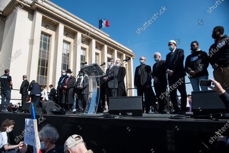 The stage set up at the Trocadero as Haim Korsia, Chief Rabbi of France, takes the floor on the occasion of the large demonstration to demand justice for Sarah Halimi, killed with the motive of anti-Semitism in 2017. In Paris, on April 25, 2021.