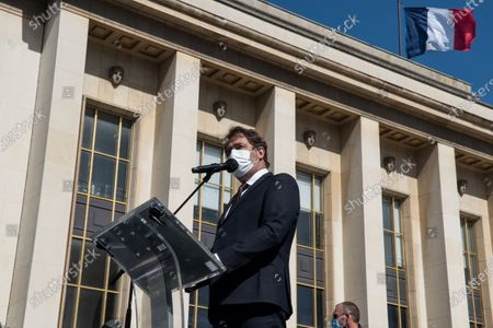 Former Interior Minister and leader of the LRM parliamentary group Christophe Castaner spoke during the demonstration to demand justice for the 2017 killing of Sarah Halimi. Castaner announced a bill to change the legal framework that led to Sarah Halimi's killer not being held criminally responsible. In Paris, on April 25, 2021.