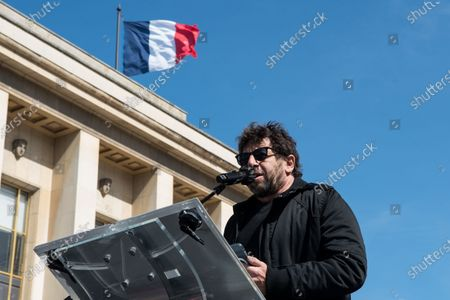 Cyril Valéry Isaac Hanouna, French actor, comedian and TV host, during a demonstration to demand justice for the killing of Sarah Halimi, in 2017. In the Trocadero square, in Paris, on April 25, 2021.