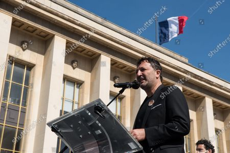 Arthur, French TV presenter, producer and comedian, during a demonstration to demand justice for the killing of Sarah Halimi, in 2017. In the Trocadero square, in Paris, on April 25, 2021.