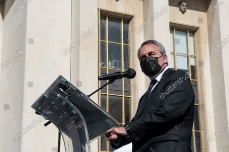 Stock Picture of Xavier Bertrand, candidate at presidential election and president of Hauts-de-France region, takes the floor on the occasion of the large demonstration to demand justice for Sarah Halimi, killed with the motive of anti-Semitism in 2017. In Paris, on April 25, 2021.