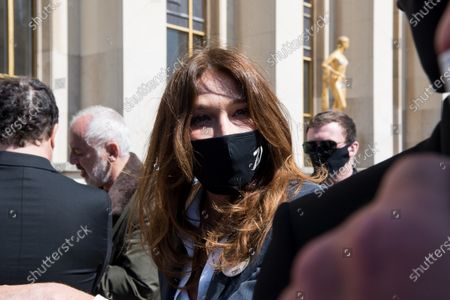 Carla Bruni Tedeschi, wife of former President of the Republic Nicolas Sarkozy, takes part in the event in memory of Sarah Halimi, in Trocadero square, in Paris, on April 25, 2021.
