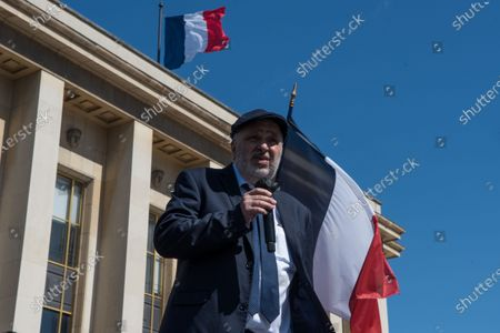 William Attal, Sarah Halimi's brother, speaks on the stage of the large demonstration organised in the Trocadero square in memory of his sister, killed in 2017 by a man who according to French justice is not criminally responsible as he was under the influence of drugs at the time of the murder. In Paris, on April 25, 2021.