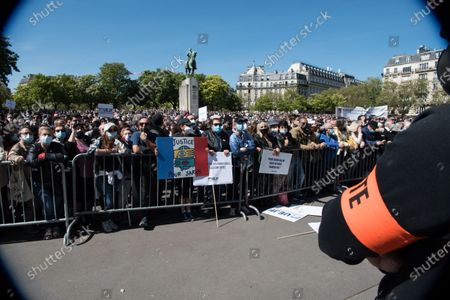 A crowd of more than 20,000 people took part in the demonstration in memory of Sarah Halimi in Trocadero square, in Paris, on April 25, 2021.