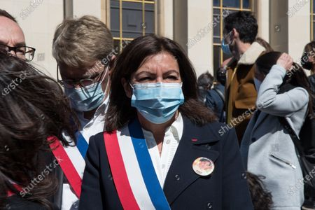 The mayor of Paris Anne Hidalgo takes part in the large demonstration to demand justice for Sarah Halimi, killed with the motive of anti-Semitism in 2017, organised at the Trocadero, in Paris, in April 25, 2021.