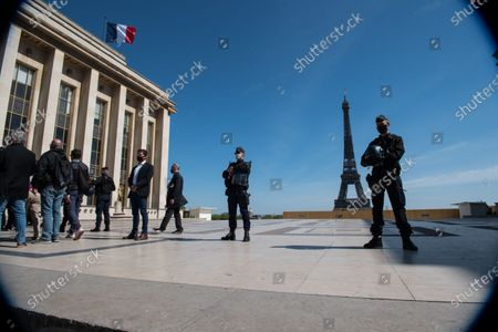 The Trocadero esplanade, controlled by security forces, just behind the large demonstration in memory of Sarah Halimi, attended by more than 20,000 people, in Paris, on April 25, 2021.
