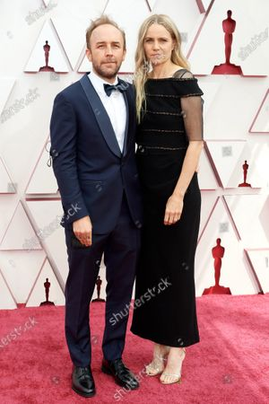 Stock Image of Derek Cianfrance and Shannon Plumb arrive on the red carpet of The 93rd Oscars® at Union Station in Los Angeles, CA on Sunday, April 25, 2021.