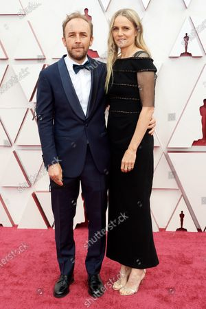 Derek Cianfrance and Shannon Plumb arrive on the red carpet of The 93rd Oscars® at Union Station in Los Angeles, CA on Sunday, April 25, 2021.