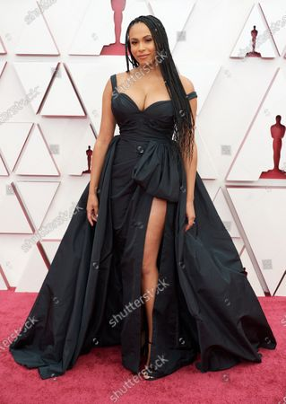 Nicolette Robinson arrives on the red carpet of The 93rd Oscars® at Union Station in Los Angeles, CA on Sunday, April 25, 2021.
