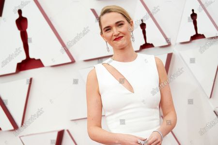 Stock Photo of Jena Friedman arrives on the red carpet of The 93rd Oscars® at Union Station in Los Angeles, CA on Sunday, April 25, 2021.