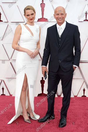 Oscar® nominees Jena Friedman and Anthony Hines on the red carpet of The 93rd Oscars® at Union Station in Los Angeles, CA on Sunday, April 25, 2021.