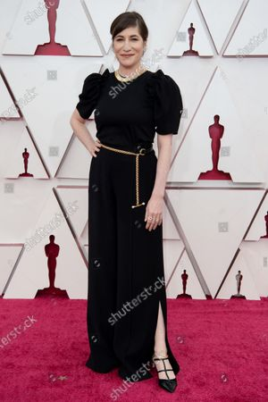 Mollye Asher (R) arrives on the red carpet of The 93rd Oscars® at Union Station in Los Angeles, CA on Sunday, April 25, 2021.