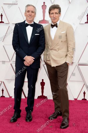 Peter Spears (R) and guest arrive on the red carpet of The 93rd Oscars® at Union Station in Los Angeles, CA on Sunday, April 25, 2021.
