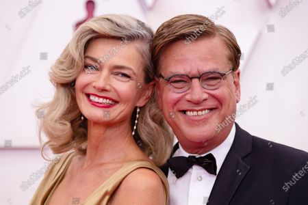Aaron Sorkin arrives on the red carpet of The 93rd Oscars® at Union Station in Los Angeles, CA on Sunday, April 25, 2021.