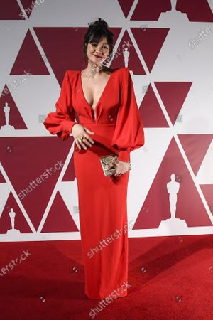 Laura Allen arrives for the 93rd annual Academy Awards screening in London, Britain, 26 April 2021. The Oscars are presented for outstanding individual or collective efforts in filmmaking in 24 categories. The Oscars happen two months later than originally planned, due to the impact of the coronavirus COVID-19 pandemic on cinema.
