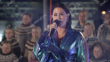 """Molly Sanden performs """"Husavik"""" for the ABC special """"Oscars: Into the Spotlight,"""" the lead-in to the 93rd Oscars, in Husavik, Iceland on Monday, April 19, 2021."""
