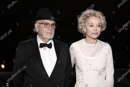 Jean-Louis Livi and Caroline Silhol pose for a photo during a screening of the Oscars