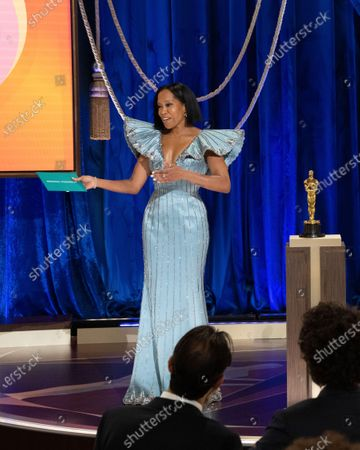 Regina King presents the Oscar for Original Screenplay during the live ABC Telecast of The 93rd Oscars at Union Station
