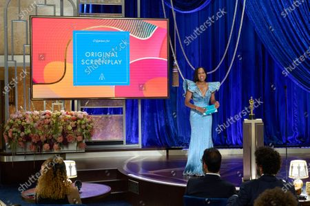 Regina King presents the Oscar® for Original Screenplay during the live ABC Telecast of The 93rd Oscars® at Union Station in Los Angeles, CA on Sunday, April 25, 2021.
