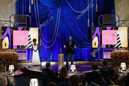 Tyler Perry accepts the Gene Hersholt Humanitarian Award during the live ABC Telecast of The 93rd Oscars¨ at Union Station in Los Angeles, CA on Sunday, April 25, 2021. With Viola Davis