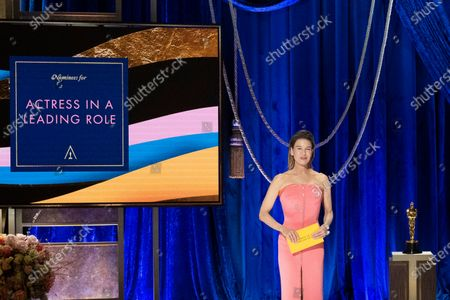 Stock Picture of Renee Zellweger presents the Oscar® for Actress in a Leading Role during the live ABC Telecast of The 93rd Oscars® at Union Station in Los Angeles, CA on Sunday, April 25, 2021.