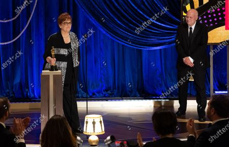 Jan Pascale and Donald Graham accept the Oscar® for Production Design during the live ABC Telecast of The 93rd Oscars® at Union Station in Los Angeles, CA on Sunday, April 25, 2021.