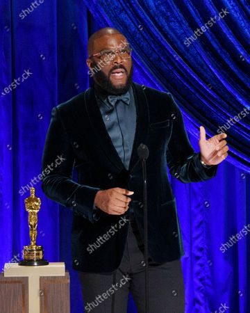 Tyler Perry accepts the Gene Hersholt Humanitarian Award during the live ABC Telecast of The 93rd Oscars® at Union Station in Los Angeles, CA on Sunday, April 25, 2021.