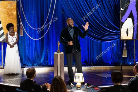 Viola Davis presents the Gene Hersholt Humanitarian Award to Tyler Perry during the live ABC Telecast of The 93rd Oscars® at Union Station in Los Angeles, CA on Sunday, April 25, 2021.