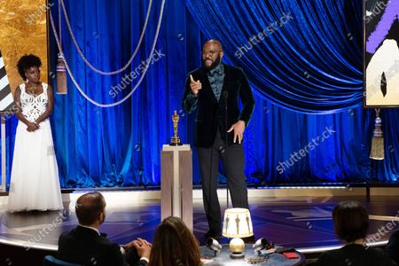 Tyler Perry accepts the Gene Hersholt Humanitarian Award during the live ABC Telecast of The 93rd Oscars® at Union Station in Los Angeles, CA on Sunday, April 25, 2021. With Viola Davis