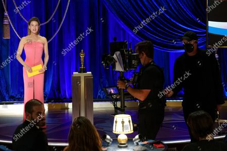 Stock Photo of Renee Zellweger presents the Oscar® for Actress in a Leading Role during the live ABC Telecast of The 93rd Oscars® at Union Station in Los Angeles, CA on Sunday, April 25, 2021.