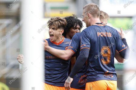 (LR) Lazaros Rota or Fortuna Sittard, Sebastian Polter or Fortuna Sittard during the Dutch Eredivisie match between ADO The Hague and Fortuna Sittard at the Cars Jeans stadium