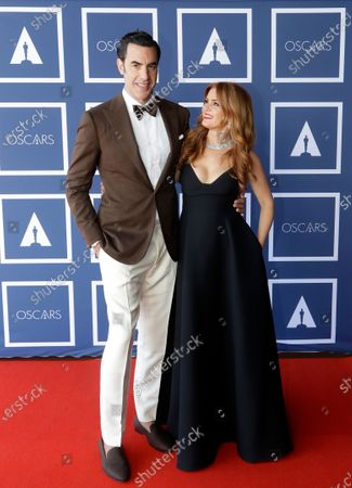 Stock Image of Sacha Baron Cohen and Isla Fisher pose for a photo during a screening of the Oscars on in Sydney, Australia
