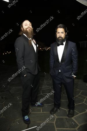 Fat Max Gsus, left, and Savan Kotecha attend a screening of the Oscars on in Stockholm, Sweden