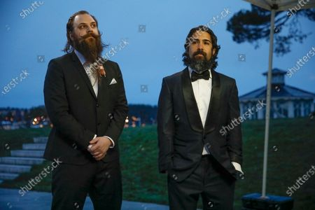 Stock Image of Fat Max Gsus, left, and Savan Kotecha attend a screening of the Oscars on in Stockholm, Sweden