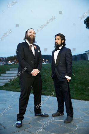 Stock Photo of Fat Max Gsus, left, and Savan Kotecha attend a screening of the Oscars on in Stockholm, Sweden