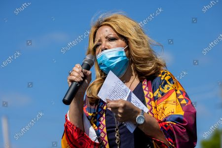 Congresswoman Lucy McBath (D-GA) speaks at a rally in Cobb County for voting rights in Marietta, Georgia on April 25th, 2021.