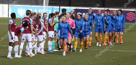 Izzy Christiansen of Everton Ladies(Right)  during  Barclays FA Women's Super League  match between West Ham United Women and Everton at The Chigwell Construction Stadium  on 25th April 2021 in Dagenham, England.