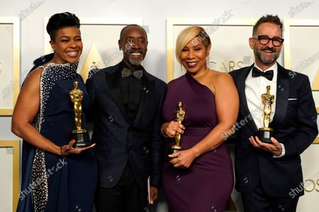 Don Cheadle (2-L) poses with the winners of the award for best makeup and hairstyling for 'Ma Rainey's Black Bottom,'  Mia Neal, Jamika Wilson and Sergio Lopez-Rivera in the press room at the 93rd annual Academy Awards ceremony at Union Station in Los Angeles, California, USA, 25 April 2021. The Oscars are presented for outstanding individual or collective efforts in filmmaking in 24 categories. The Oscars happen two months later than originally planned, due to the impact of the coronavirus COVID-19 pandemic on cinema.